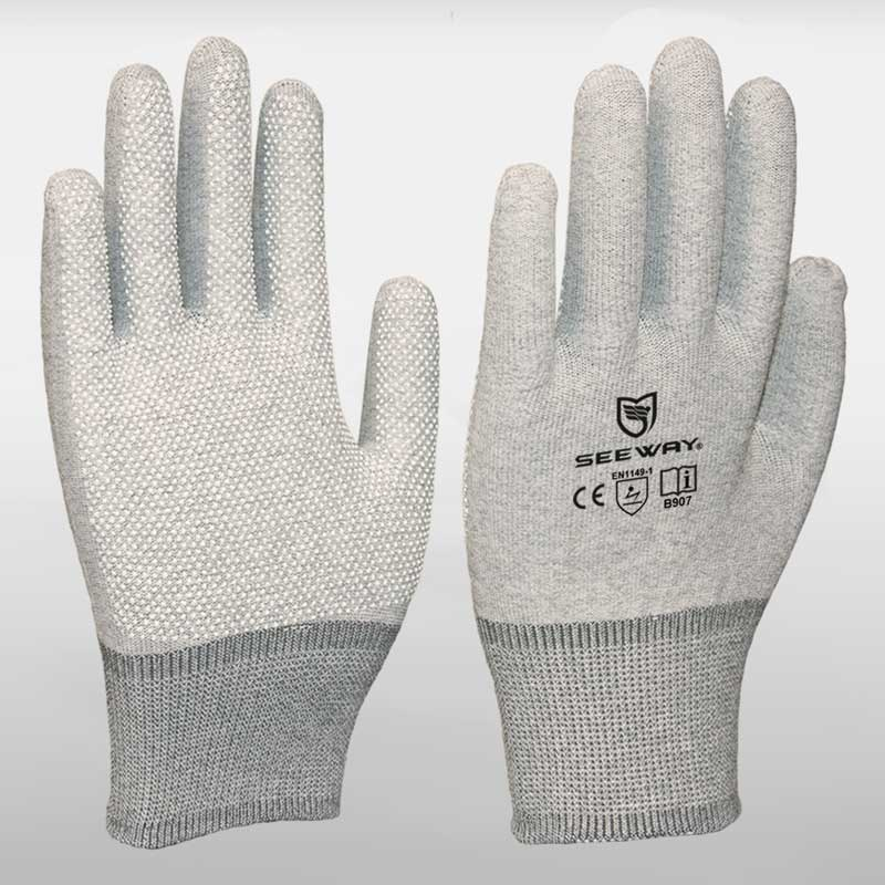 PVC Dots Coated ESD Gloves