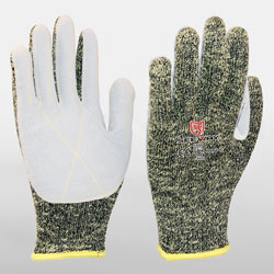 Aramid Knit Glove with Leather Palm