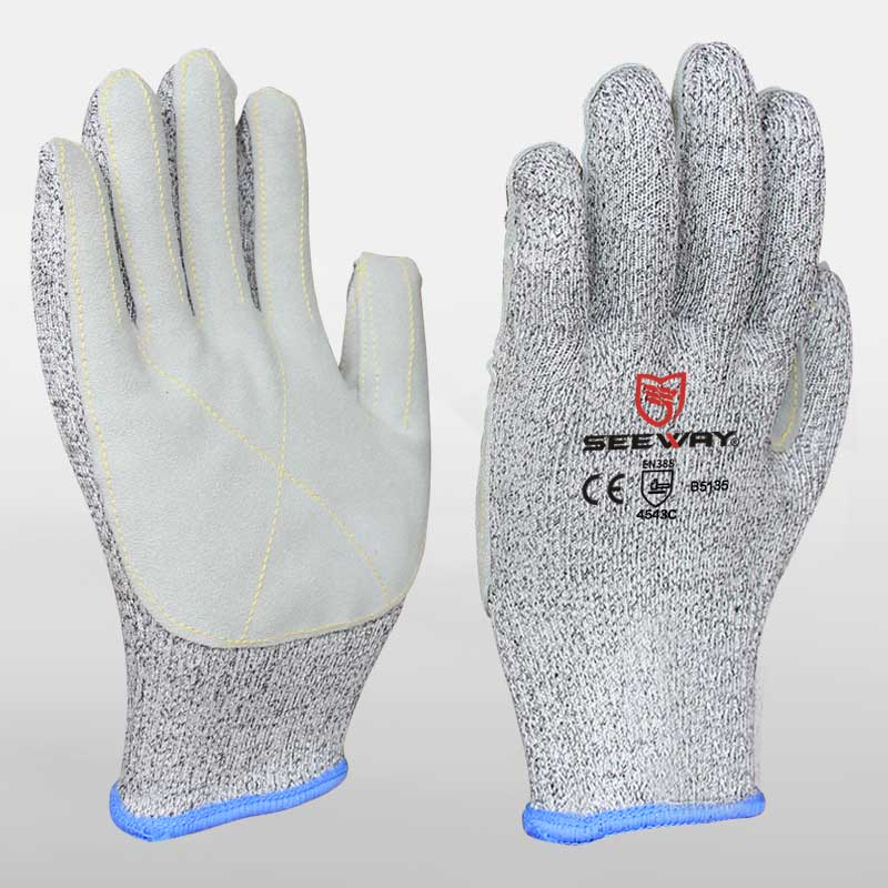 HPPE Cow Leather Cut Resistant Gloves