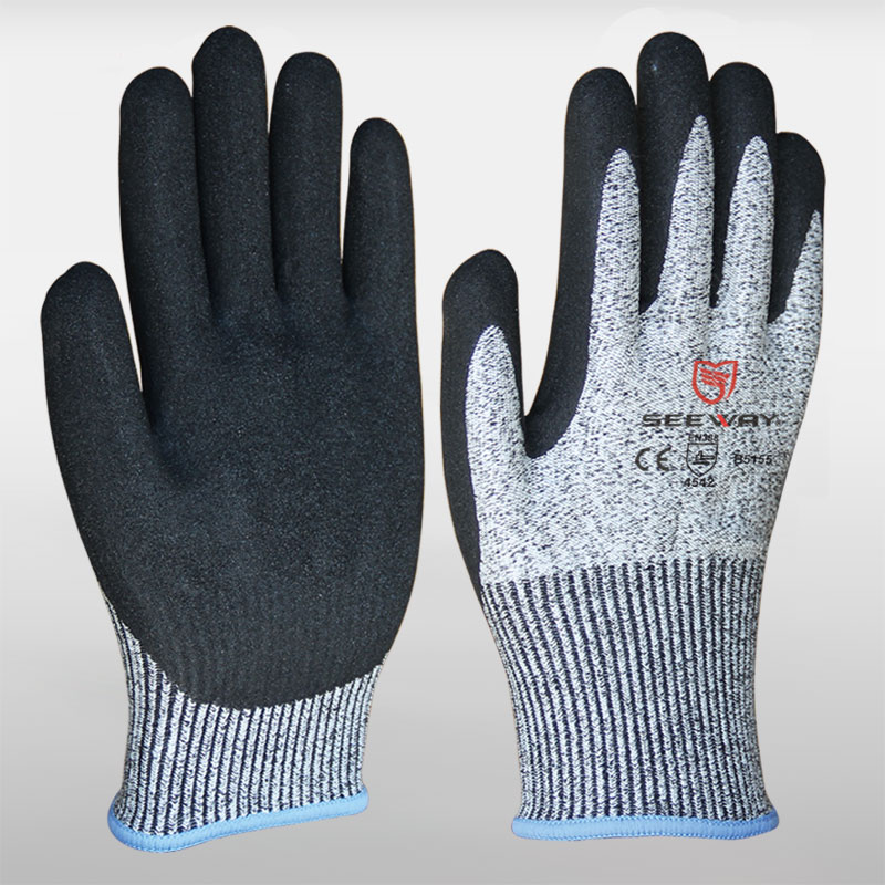 HHPE Cut-Resistant Gloves With Sandy Nitrile