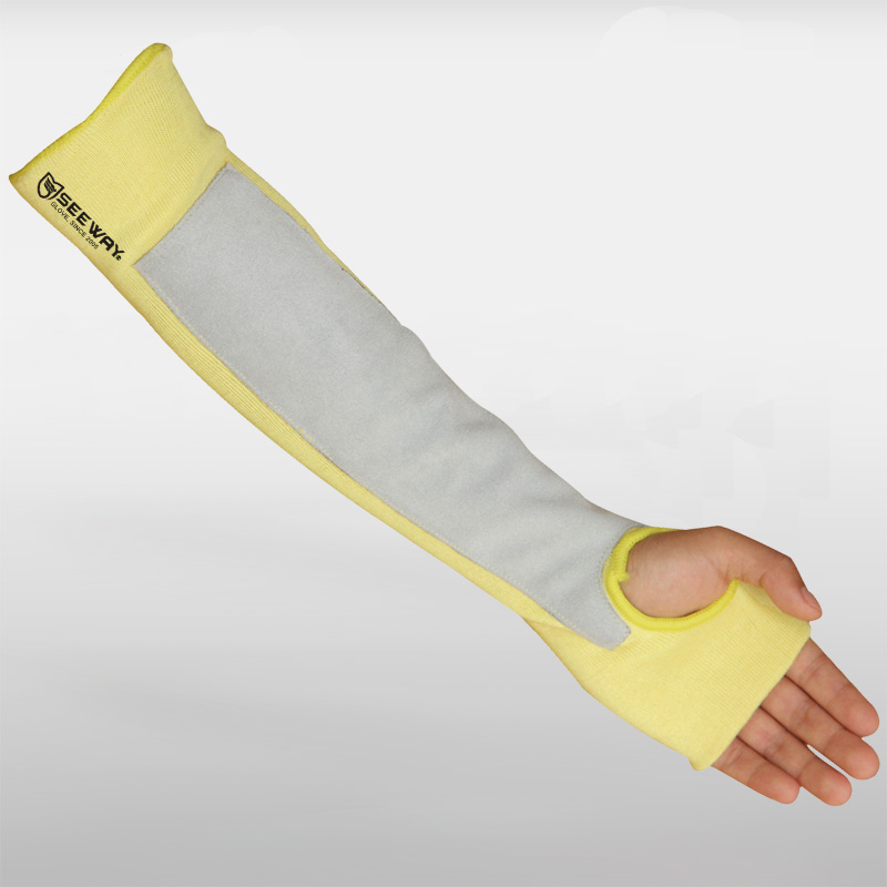 Aramid Cut-Resistant Sleeves with Cow Leather Palm Coated