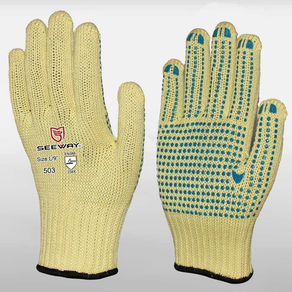 Aramid One-side PVC Dotted Gloves