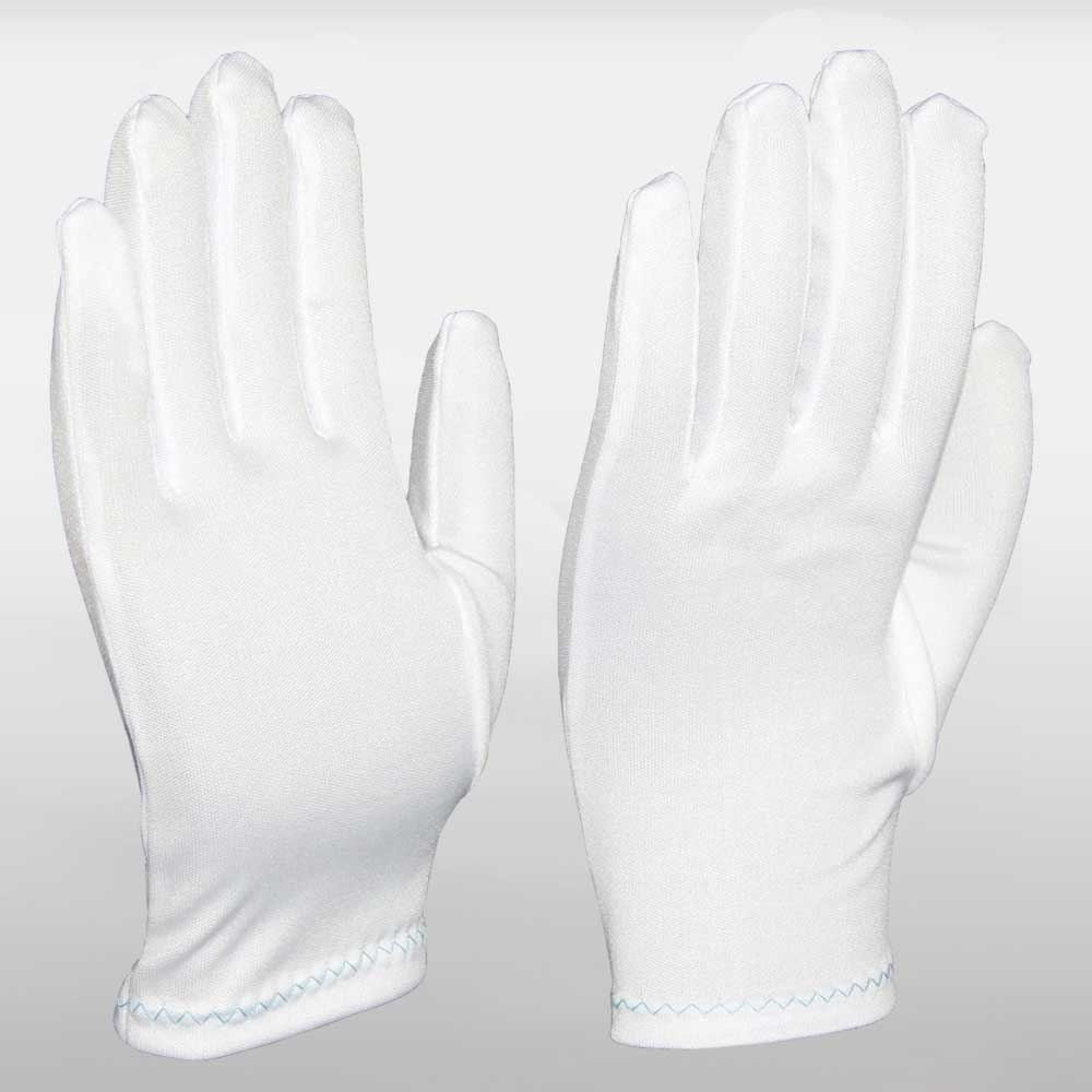 White Cotton Knitted Full Fashion Wrist Cuff Conductor Gloves