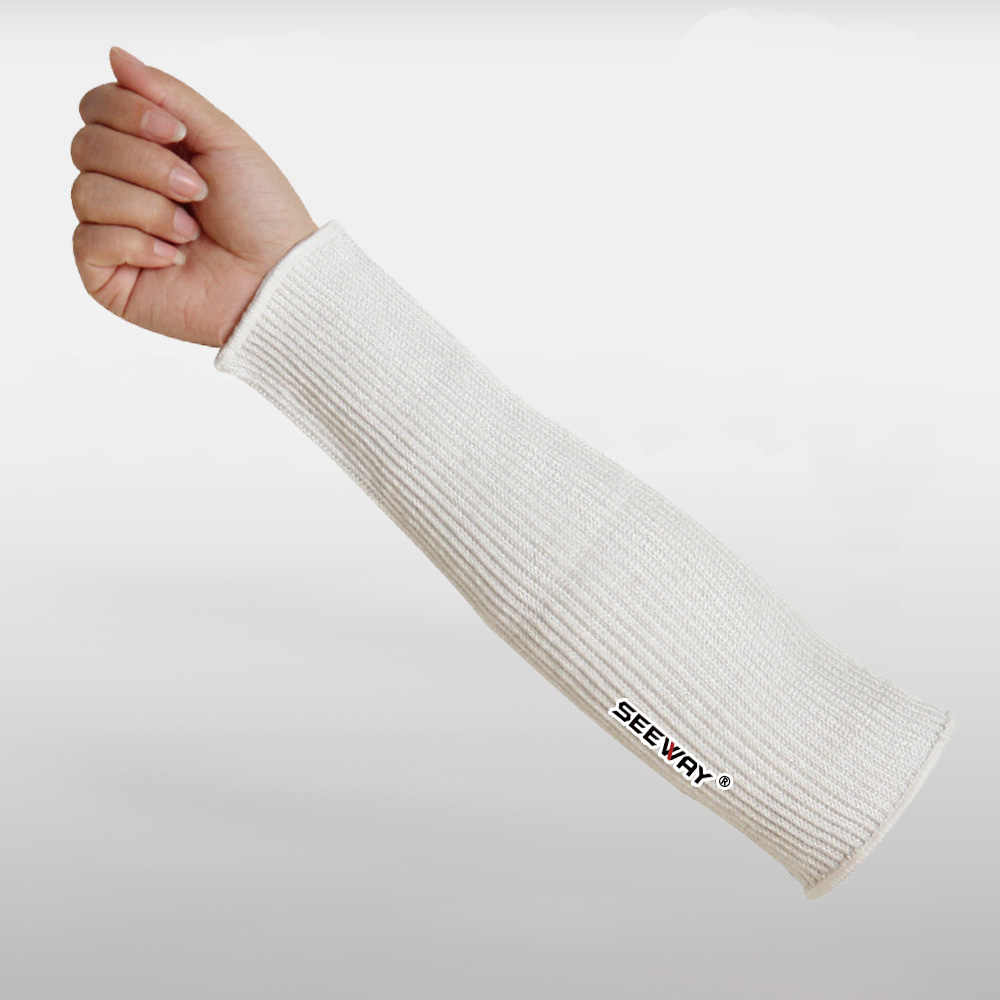 HPPE Fiber Knitted Cut Resistant Level 5 White Forearm Protection Hand Sleeves.