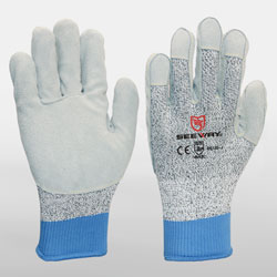 Leather Palm String Knit Cut resistant Work Gloves