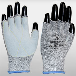 HPPE Knitted Fingerless Cut Resistant Gloves