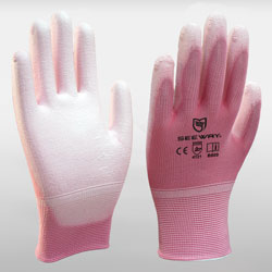Pink Palm PU Coated Gloves