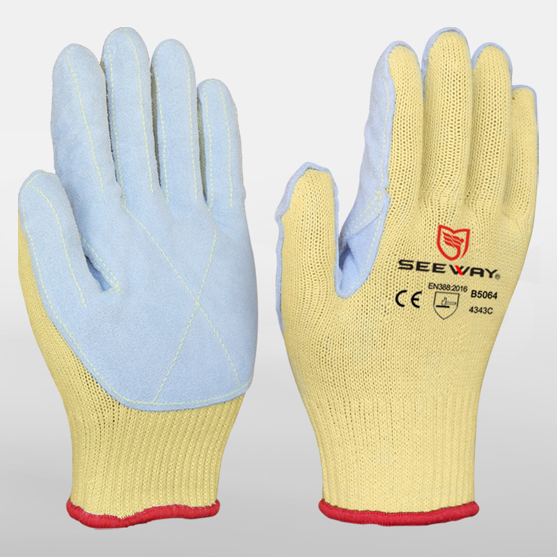 Aramid knit cut safe glove with leather palm