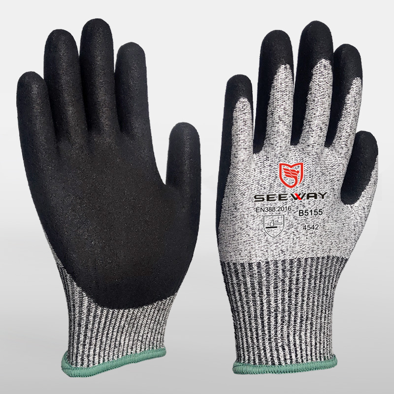 HPPE Cut-Resistant Gloves With Sandy Nitrile