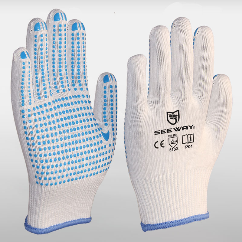 White PVC Dotted Nylon Gloves